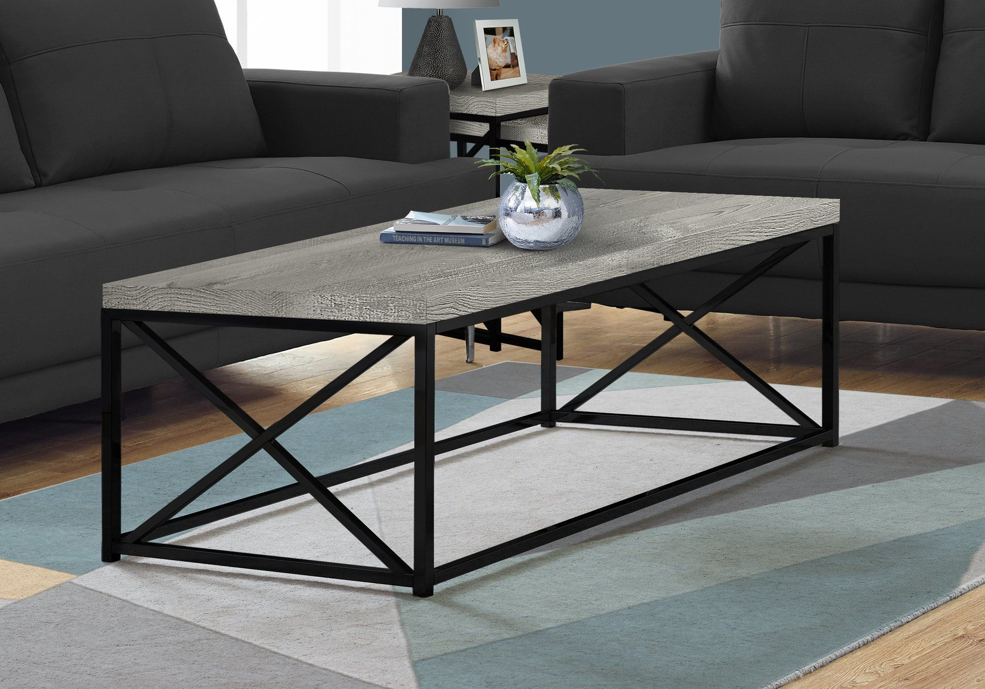 Gray Coffee Table With Black Metal Base Lewiston Coffee Table Wood Coffee Table Living Room Coffee Table [ 1400 x 2000 Pixel ]