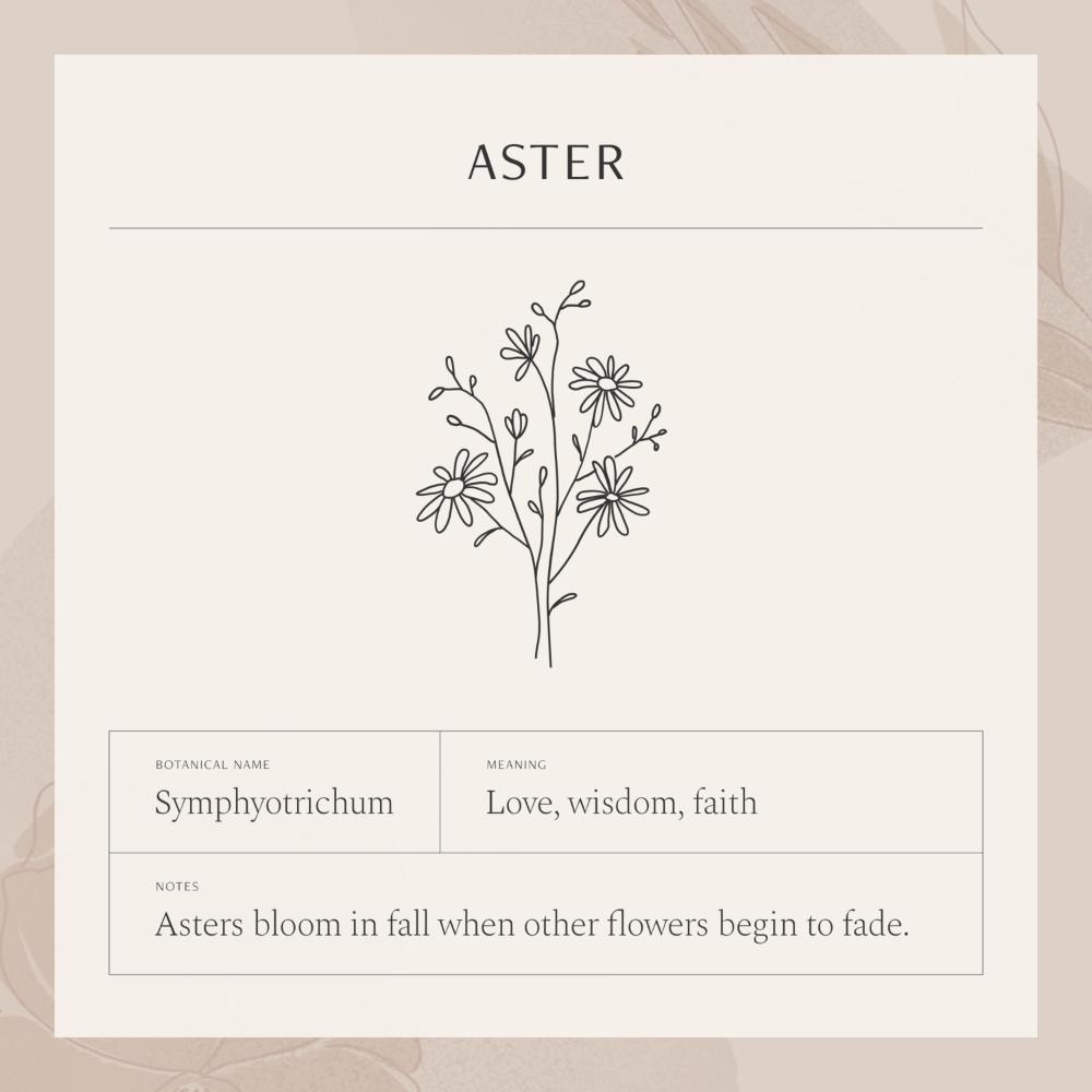 Aster Flower Necklace In 2020 Birth Flower Tattoos Aster Flower Tattoos Aster Tattoo