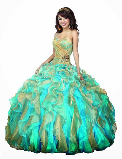 9f911ff9b Vestido de 15 años 2015 color verde agua en corte princesa.