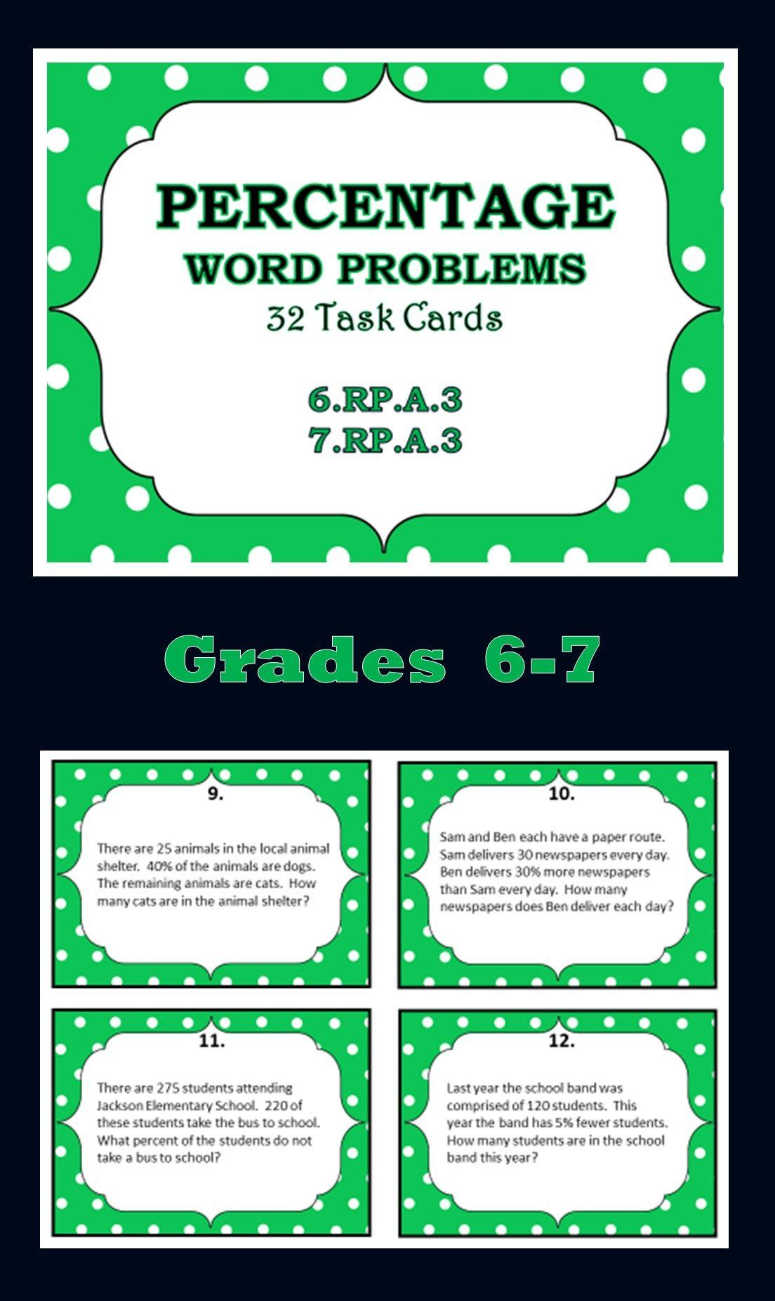32 Task Cards Percentage Word Problems Grades 6 7 Word Problems Math Resources Teaching Decimals