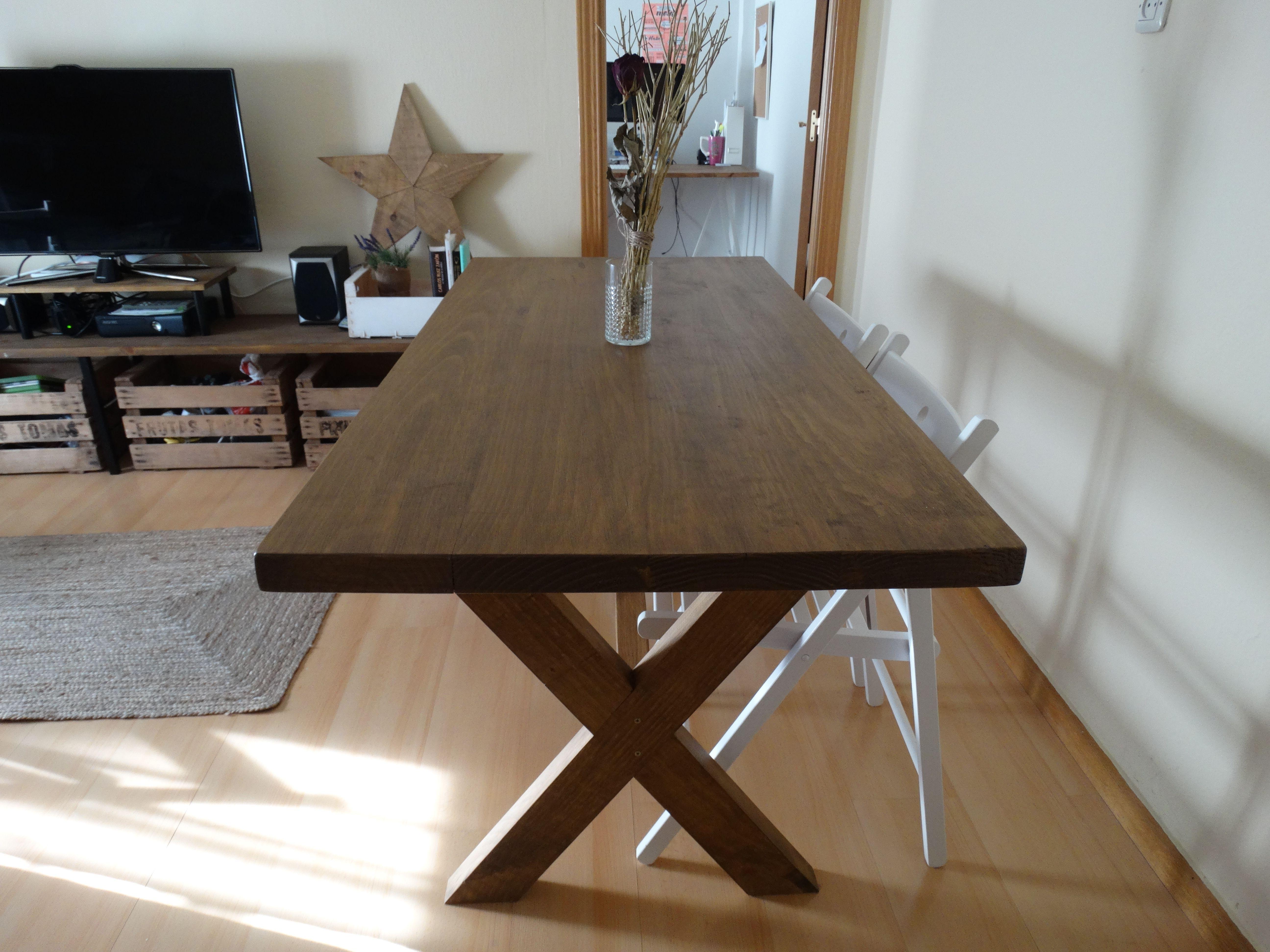Mesa de comedor cottage mesa de comedor o de cocina hecha - Mesas cocina vintage ...