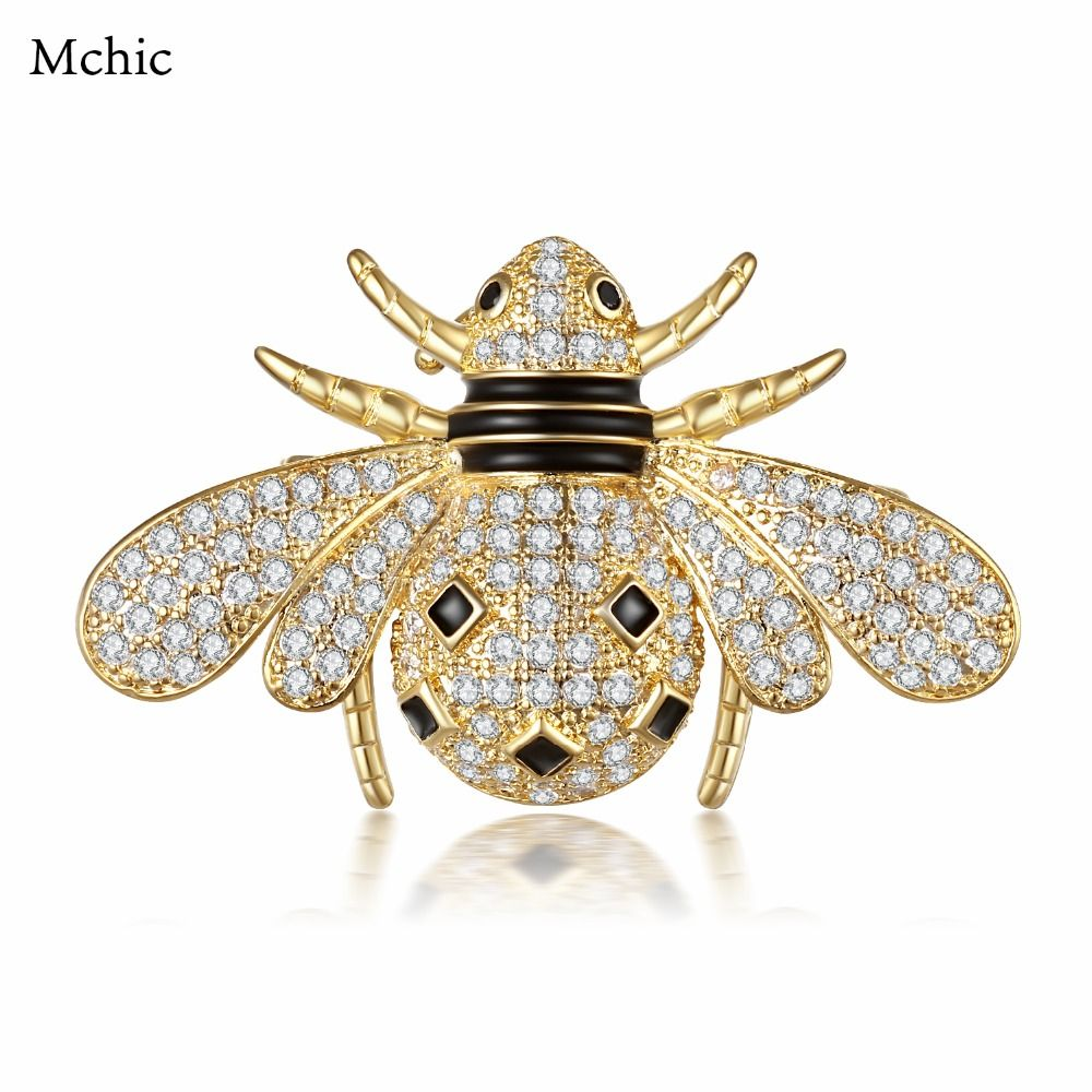 Mchic New Trendy AAA+ Cubic Zirconia Jewelry Bee Brooch S925 Pin Insect  Fashion Black Crystal Luxury