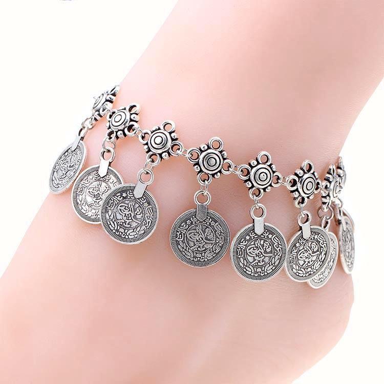 26689884890 Tornozeleira de moedas cavigliera donna prata tornozelo pulseira barefoot  tornozeleiras para mulheres pulseira chaine cheville femme em Tornozeleira  de ...