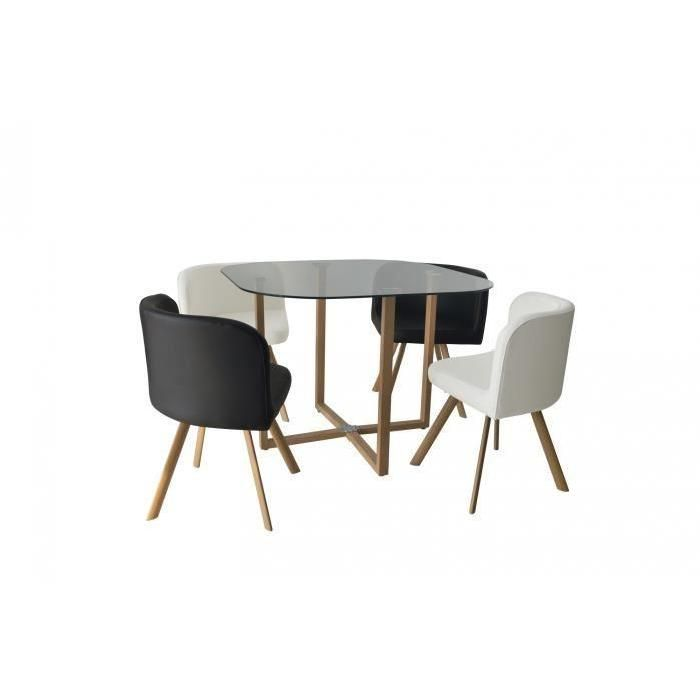 Ensemble Table 4 Chaises Encastrable Noir Et Blanc Flen Table Et Chaises Mobilier Mobilier De Salon