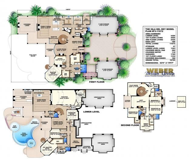 Isle del rey floor plan monster house plans by weber for Weber house plans