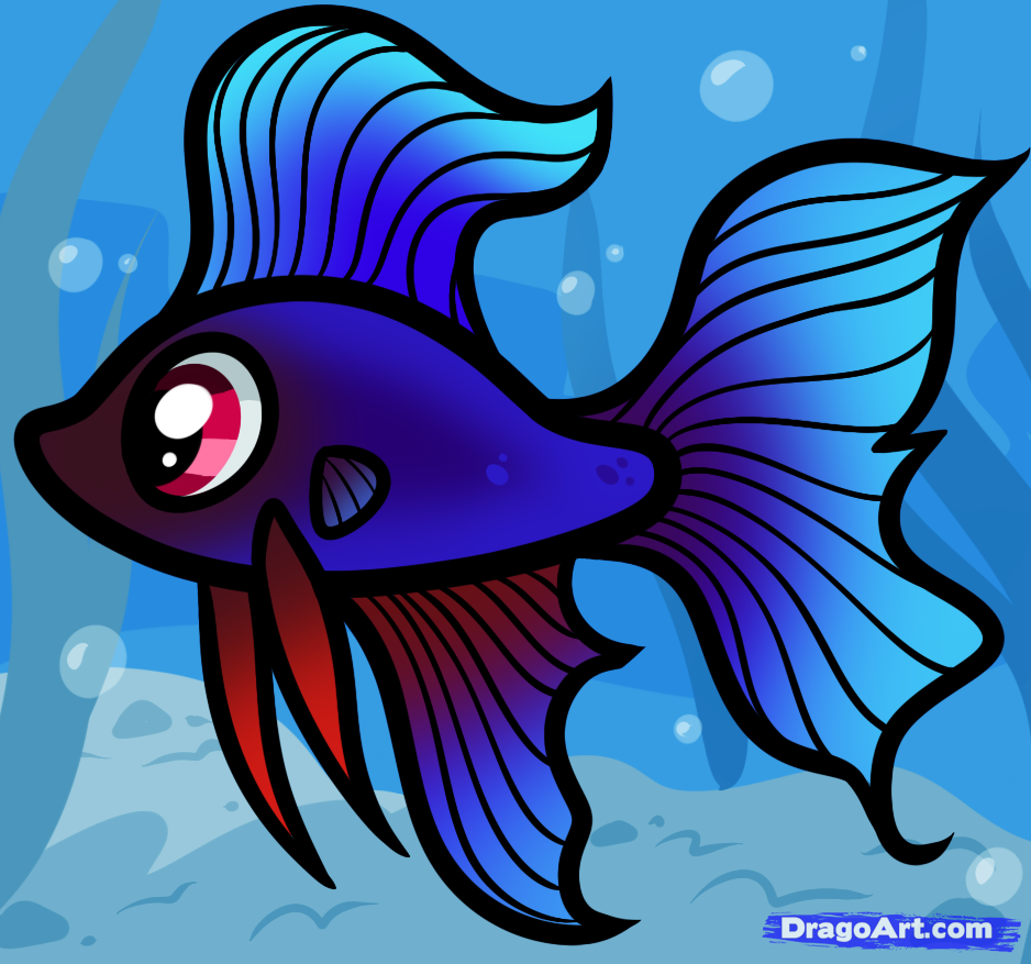 How To Draw A Betta For Kids Betta Fish Step By Step Animals For Kids For Kids Free Online Drawin Fish Cartoon Drawing Fish Drawing For Kids Fish Drawings