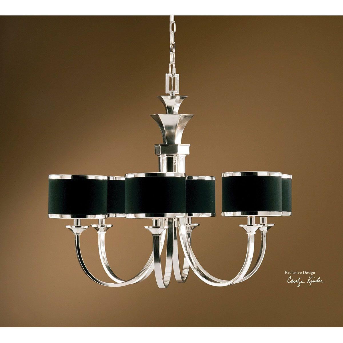 Uttermost tuxedo 6 light black shade chandelier 21131 uttermost uttermost tuxedo 6 light black shade chandelier 21131 arubaitofo Images