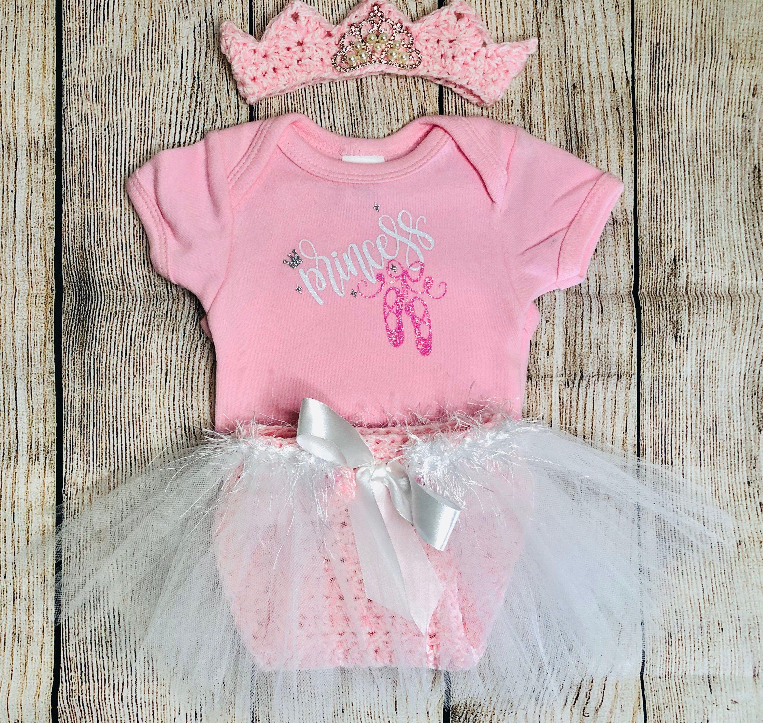 smash cake photo prop Tutu 3 pcs baby tutu set shirt and Crown Pink Princess Outfit