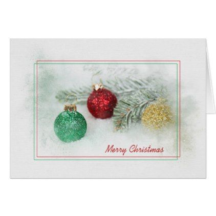 glitter Christmas ornaments and pine in snow Card