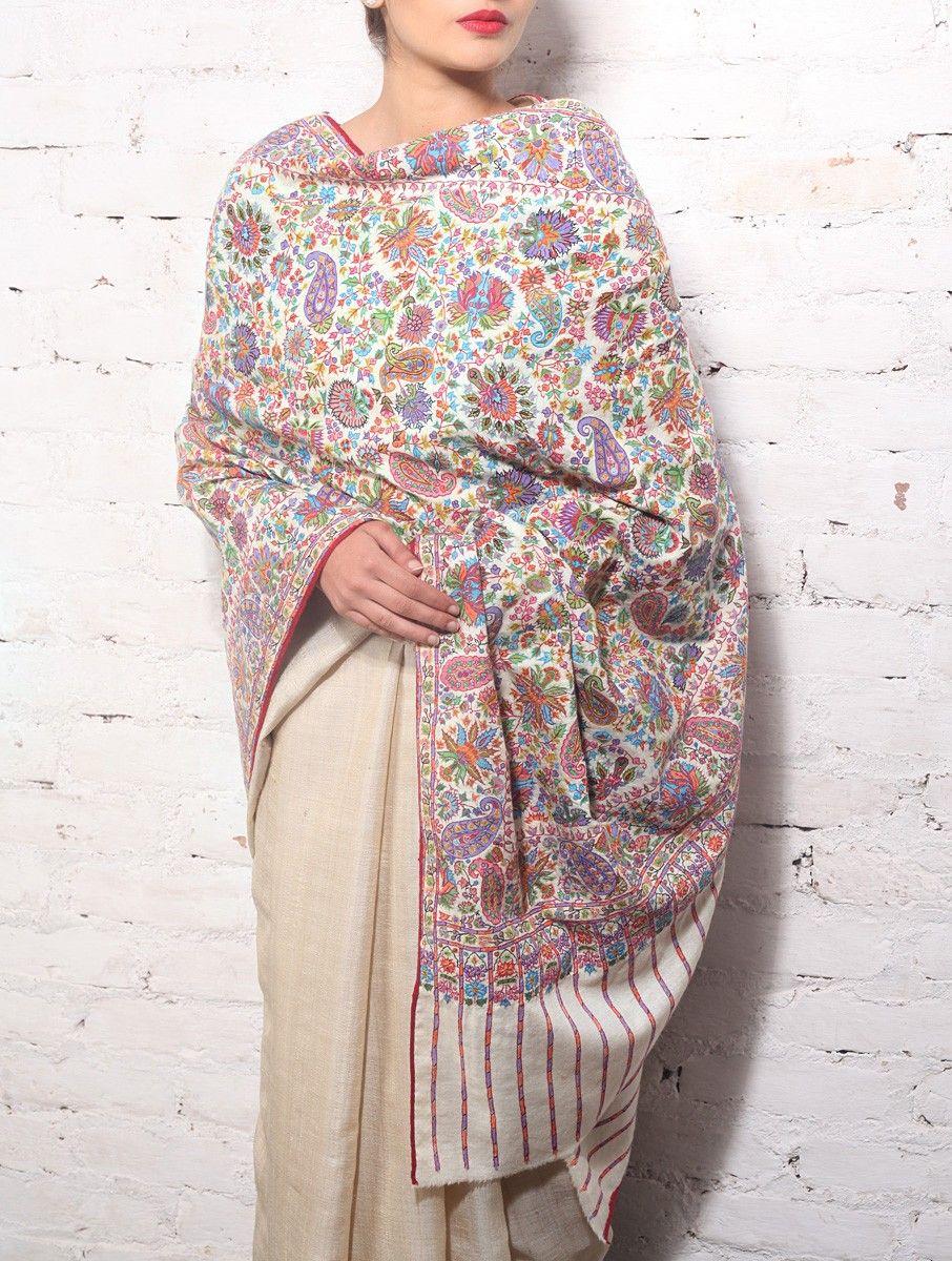 Pure Wool Shawl Kani Pashmina Ladies Indian Embroidered Winter Kashmir Black UK