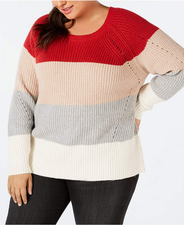 d701c9bbc6f Lucky Brand Colorblock Pointelle-Detail Sweater - Multi 1X in 2018 ...