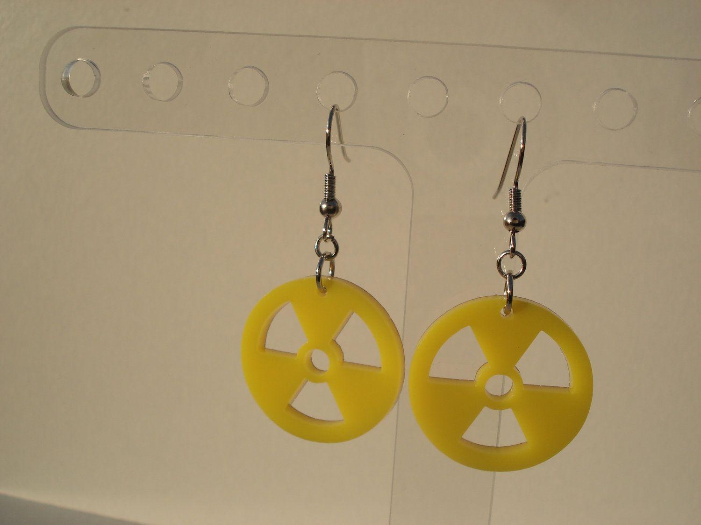 Radioactive Material - the Trefoil Symbol Acrylic Earrings. $7.00, via Etsy.