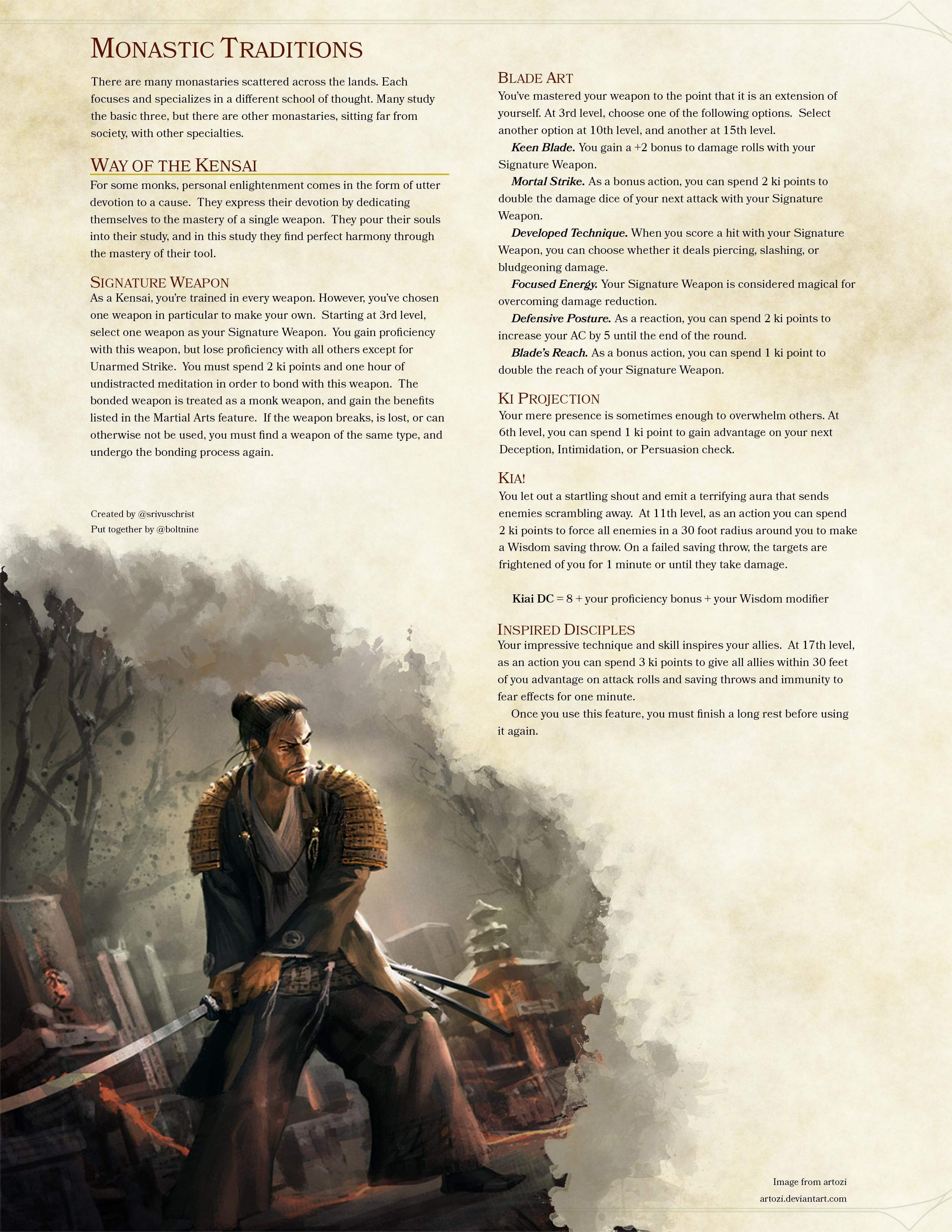 Monastic Traditions Way Of The Kensai D And D Homebrew Dnd 5e
