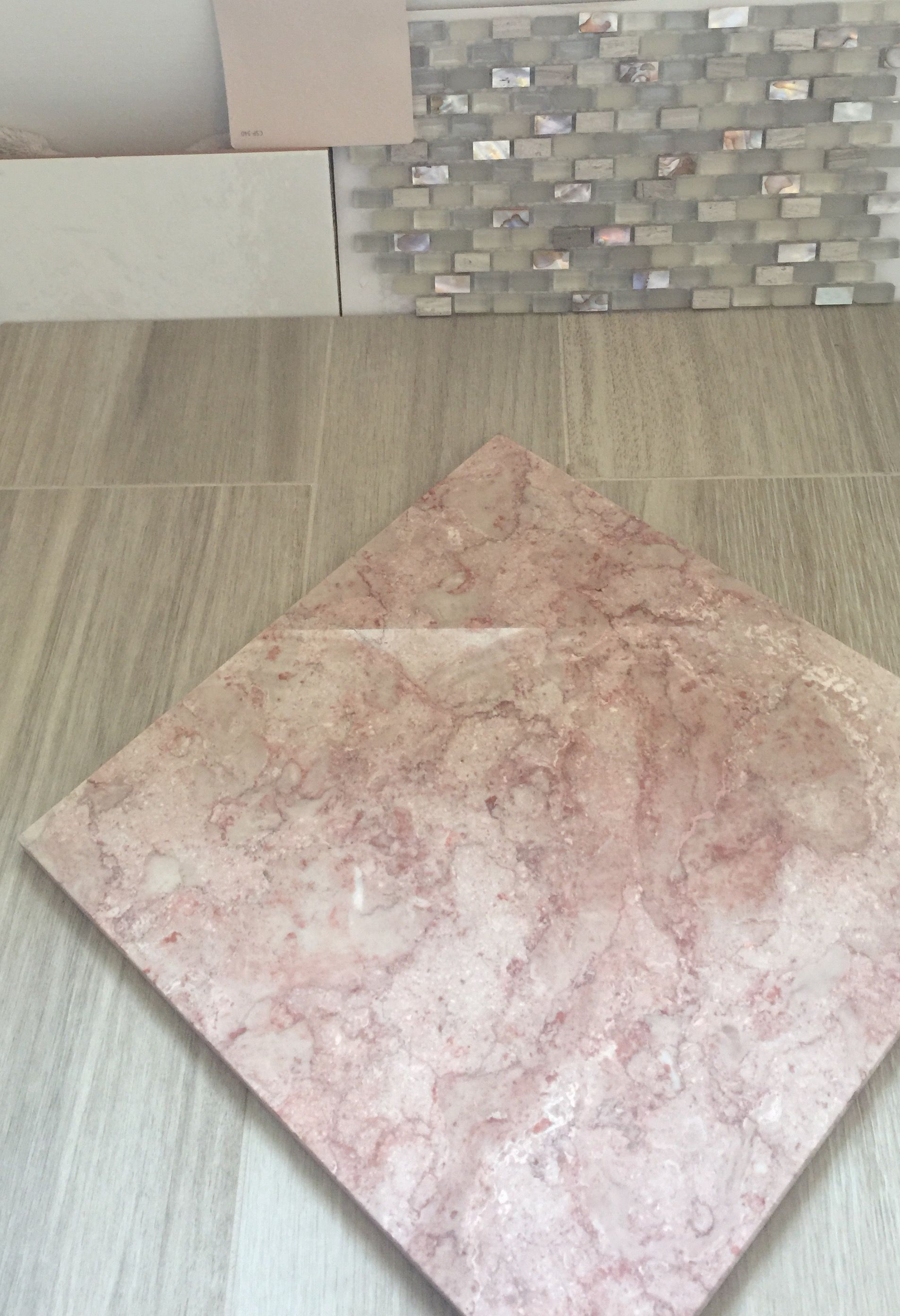 Final decision working with existing pink marble countertops working with existing pink marble countertops madera beige plank flooring subway tile prism latte gem pearl sea shore mosaic accent in shower dailygadgetfo Image collections