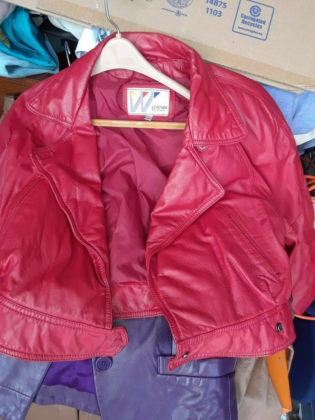 FORSALE Wilsons Womans Leather Jacket Red Size 8