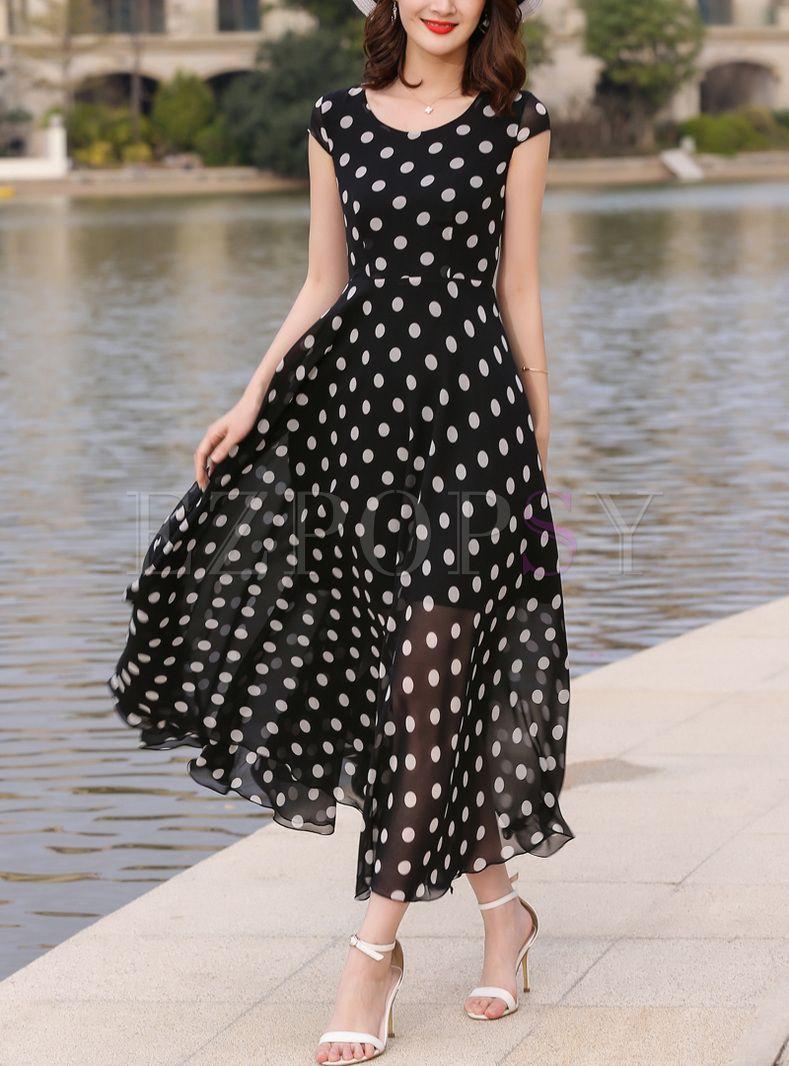 Brief V-neck Dot Print Maxi Dress