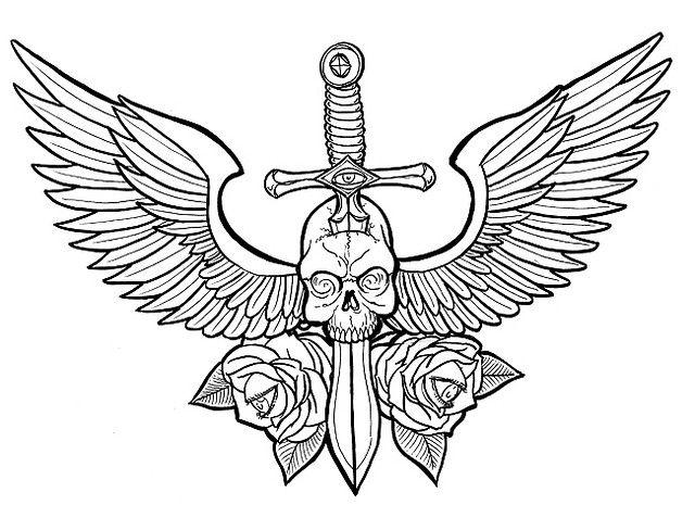 wings-skull-sword | tattoo ideas | Pinterest | Zeichnen ideen ...