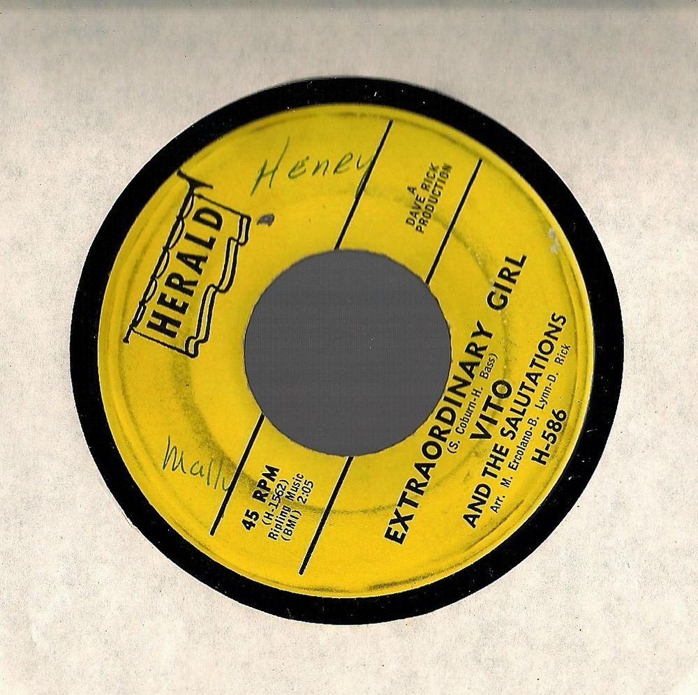 VITO AND THE SALUTATIONS~1964~Extraordinary Girl/Eenie Meenie~Herald H586 45 RPM #Popcorn