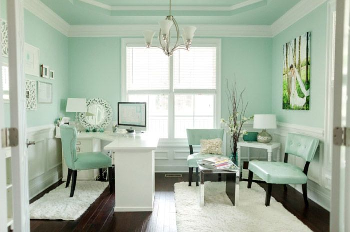 chic mint teal office shabby chic feminine office space. Black Bedroom Furniture Sets. Home Design Ideas