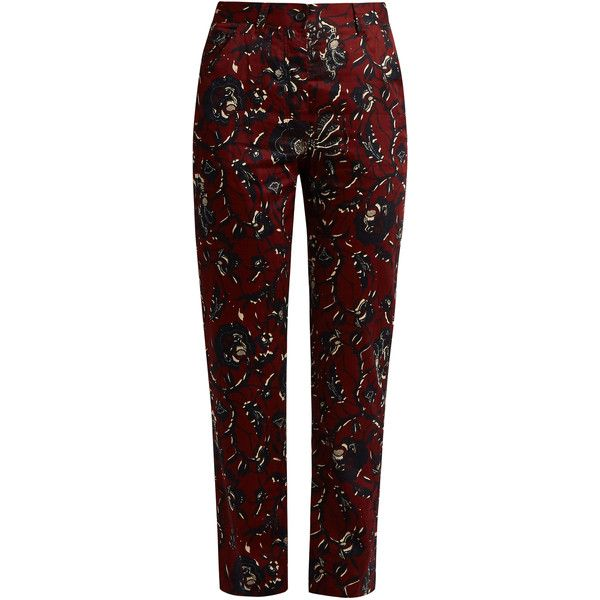 Isabel Marant Étoile Janelle floral-print trousers (860 SEK) ❤ liked on Polyvore featuring pants, trousers, cotton pants, patterned trousers, bohemian style pants, burgundy pants and cotton print pants