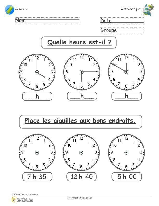 Exercice horloge | Exercices mathématiques, Exercice ce1 à ...
