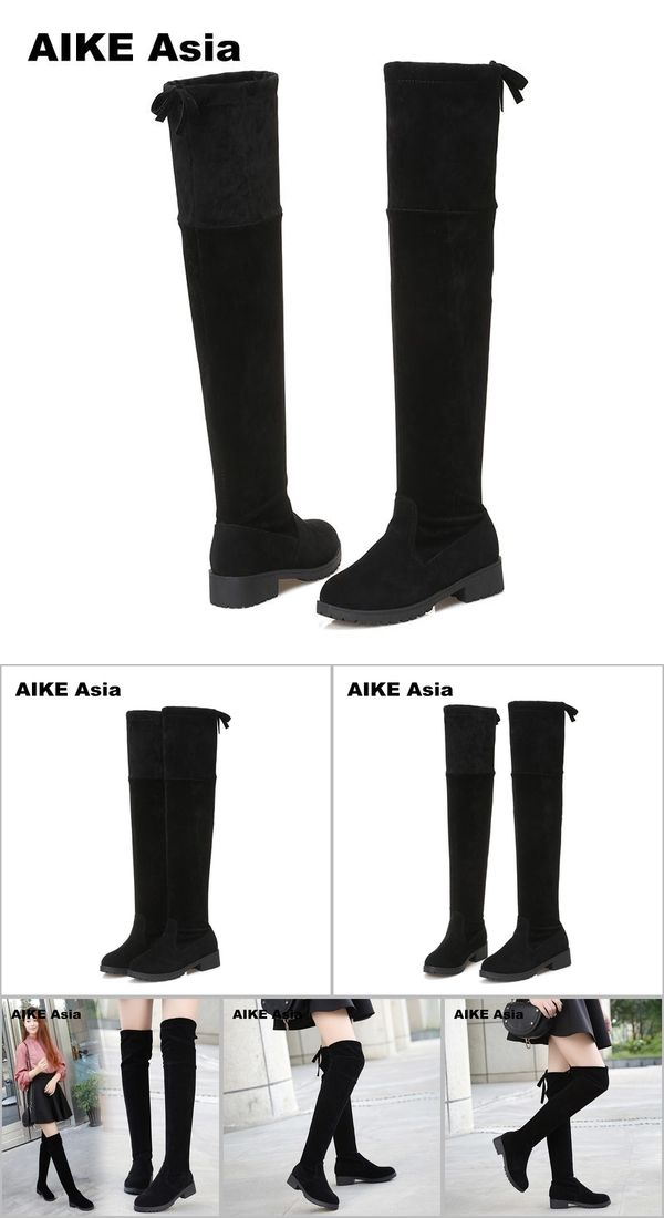 b838722b93e0 2018 New Hot Women Boots Autumn Winter Ladies Fashion Flat Bottom Boots Shoes  Over The Knee Thigh High Suede Long Boots #740