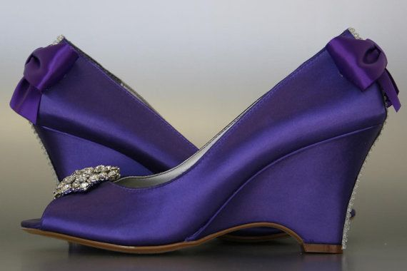 wedding shoes purple peeptoe wedges with by