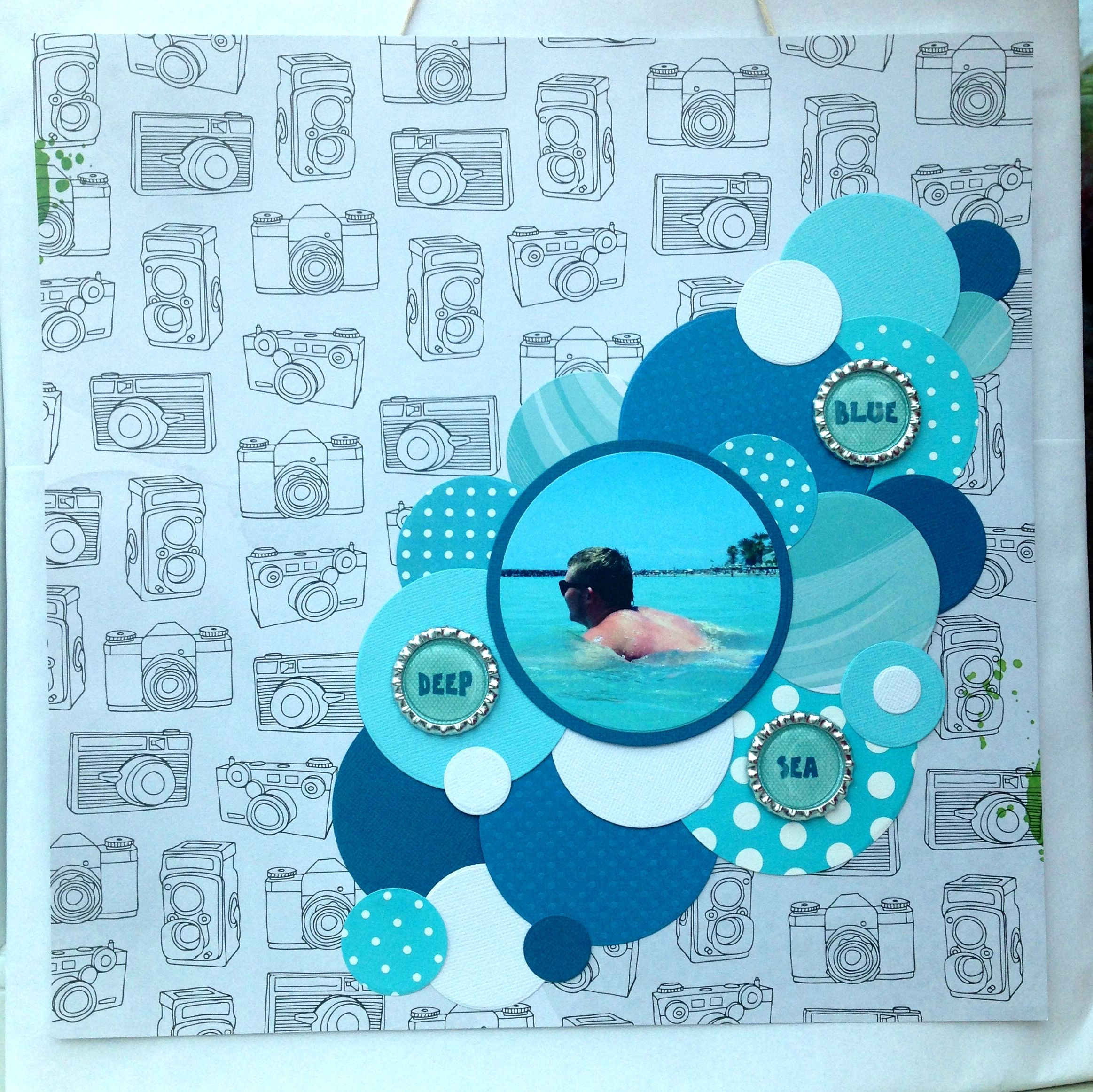 How to scrapbook magazine articles - Deep Blue Sea This Layout Was Featured In Issue At 82 Of Scrapbook Magazine The Article Was About Making Your Own Flair On This Layout I Used Bottle Tops