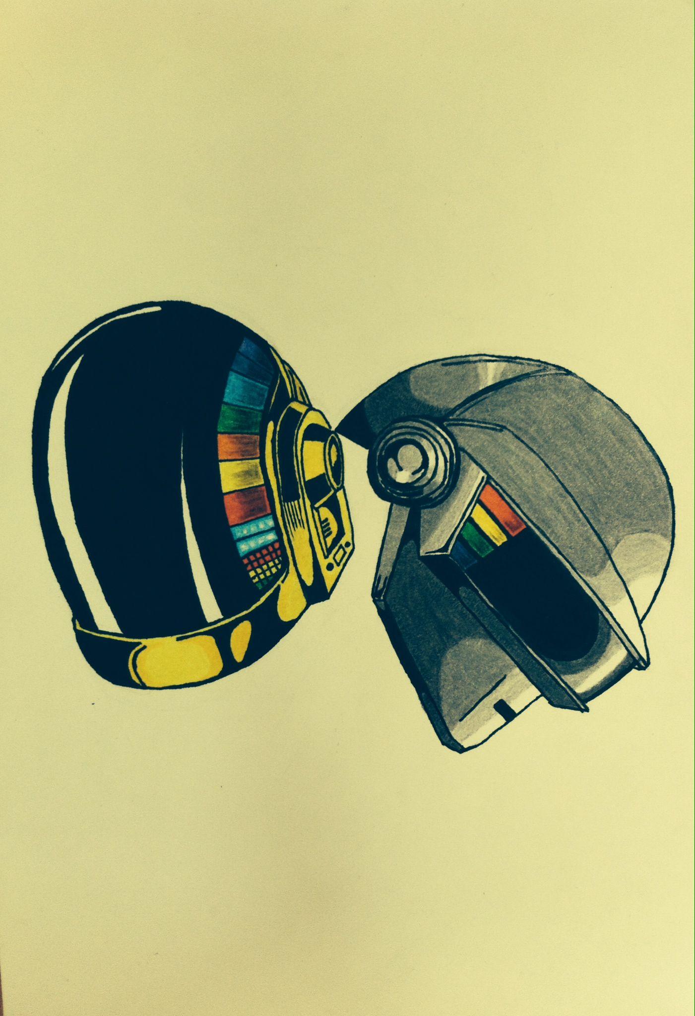 Daft Punk helmets drawing   illustration   Pinterest   Daft punk and ...