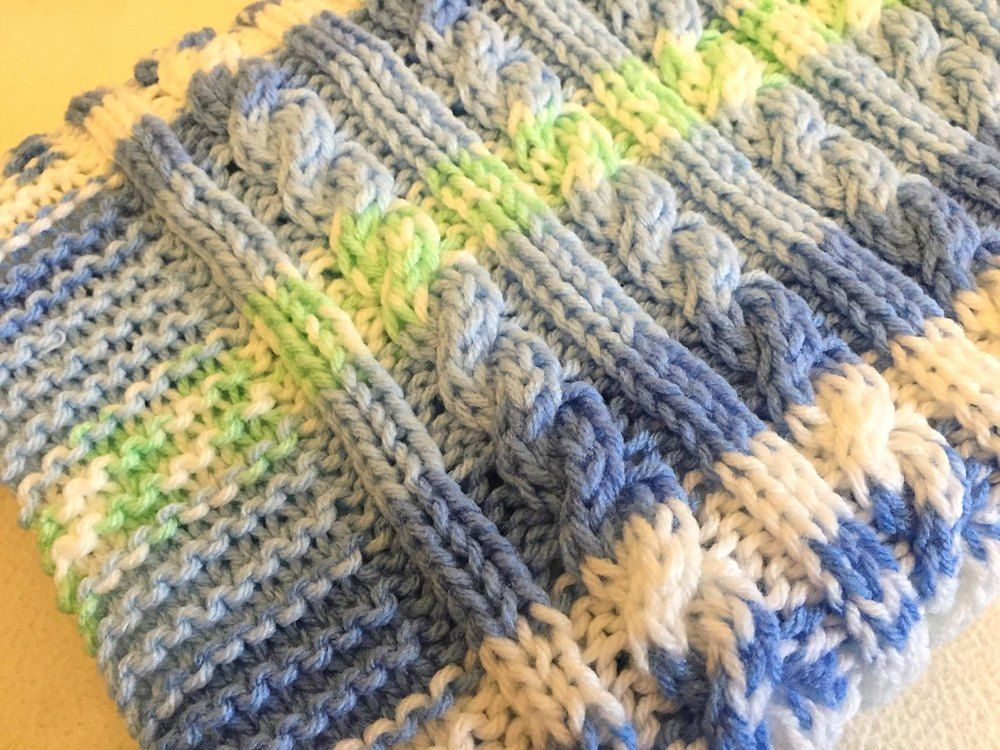 Aran Cable Baby Blanket Knitting pattern by Daisy Gray Knits