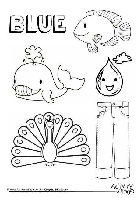 Blue Things Colouring Page Coloring Preschool Color