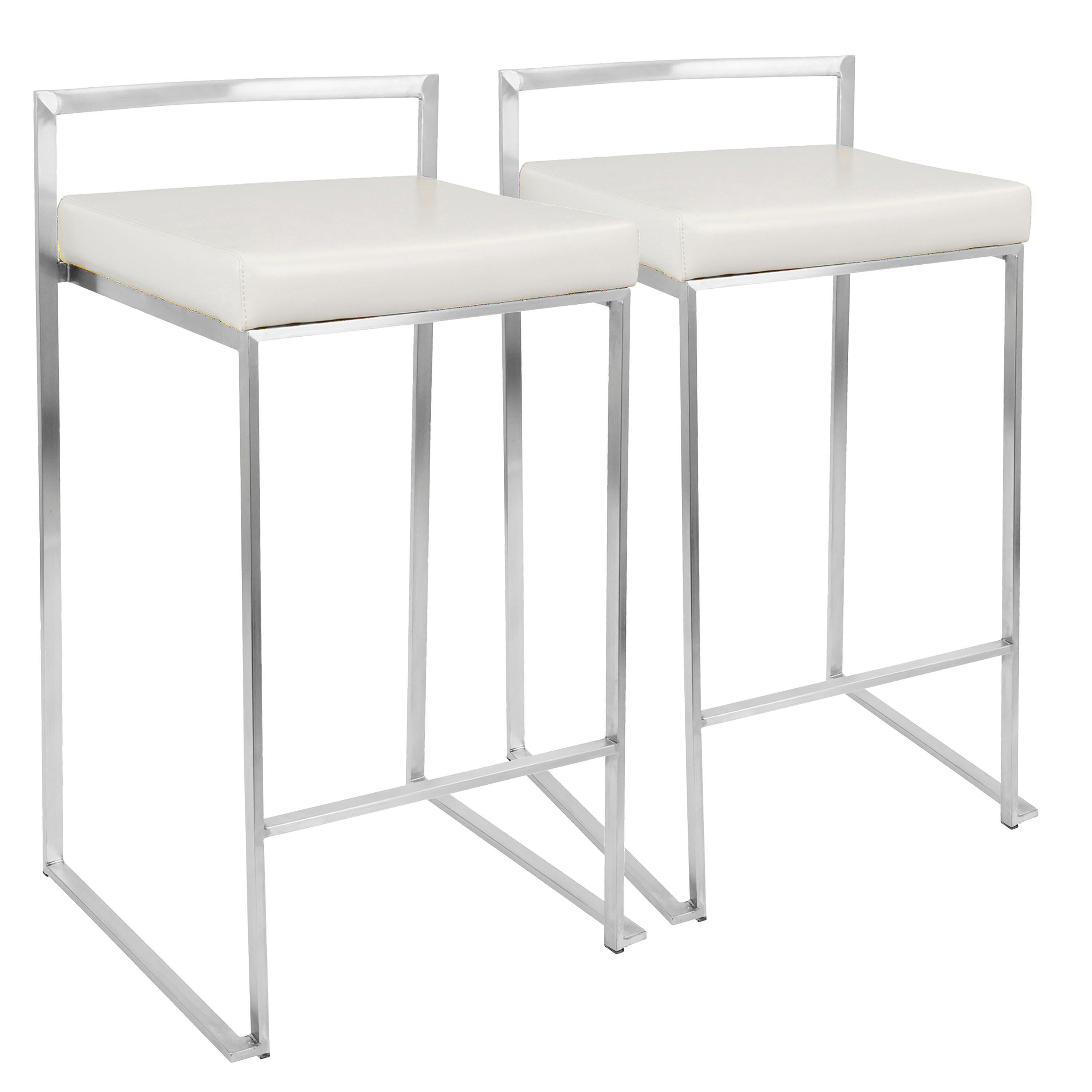 Modern White And Silver Counter Height Stool Fuji White Bar Stools Metal Counter Stools Upholstered Bar Stools