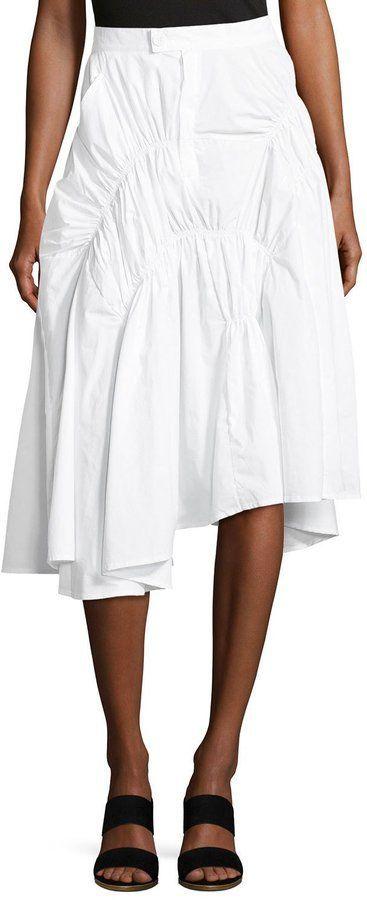 FEW MODA Character Design Ruched Skirt, White