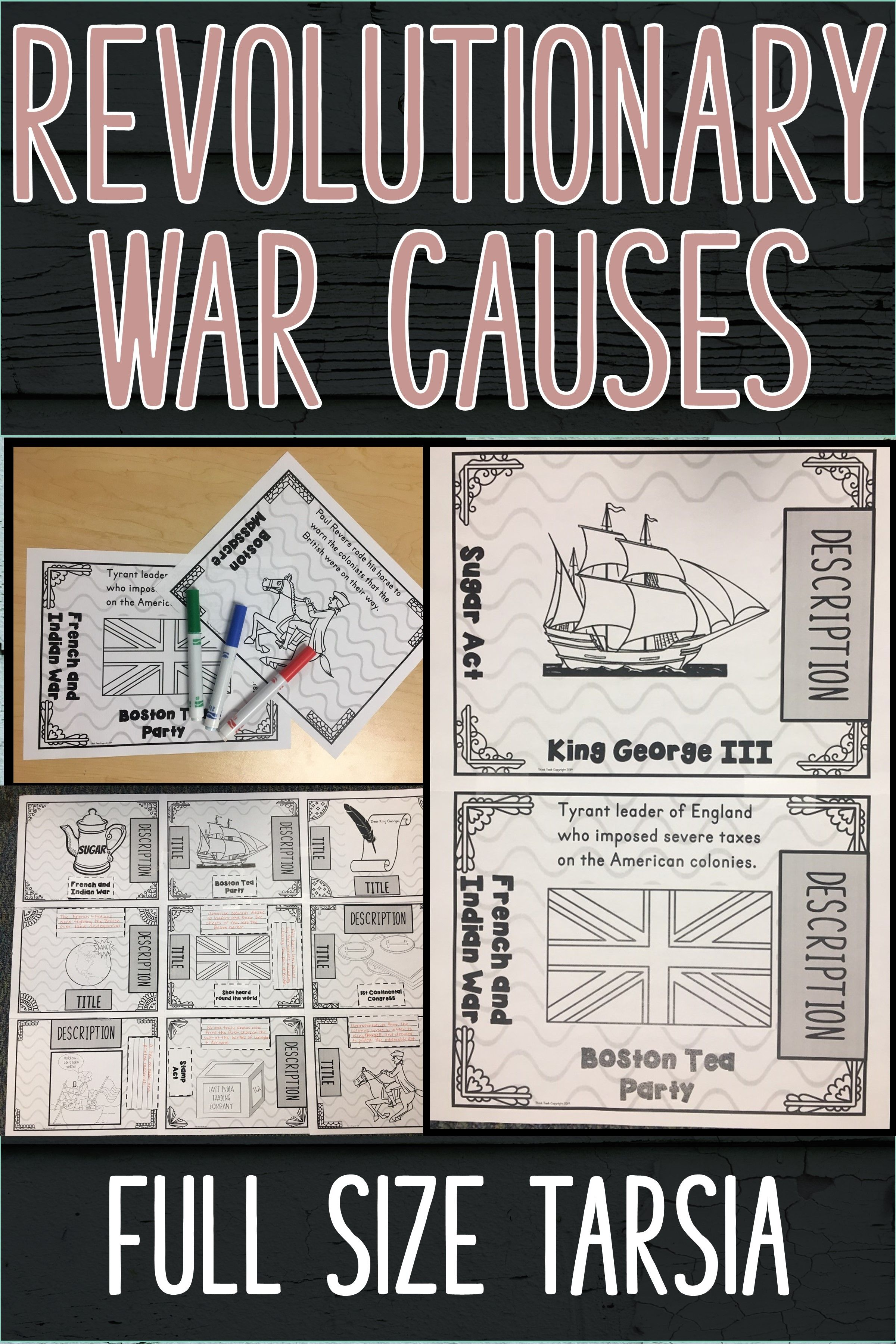 Revolutionary War Causes Full Size Group Tarsia Puzzle