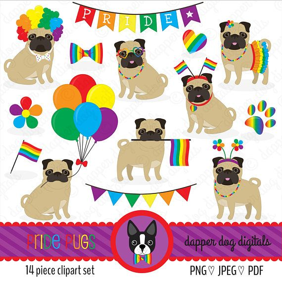 Pride Pugs Clipart Set Valentine S Commercial Use Vector Images
