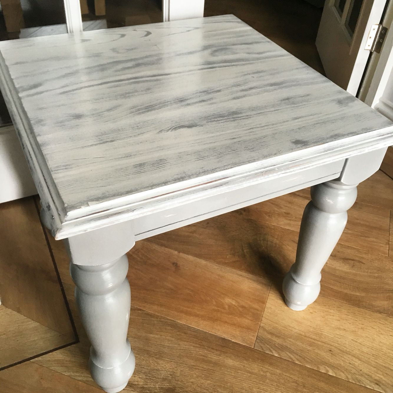 Gorgeous Little Farmhouse Table Done In Annie Sloan Paris Gray And Old White I Love The Way Th Old Wood Table Kitchen Table Makeover Chalk Paint Kitchen Table