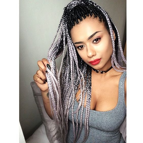 Charming Beautiful Black Silver Grey 100g Bundle 24inch Jiameisi Two Tone Ombre Jumbo Braid Hair Extension Hair Styles Ombre Braid Ombre Hair Blonde