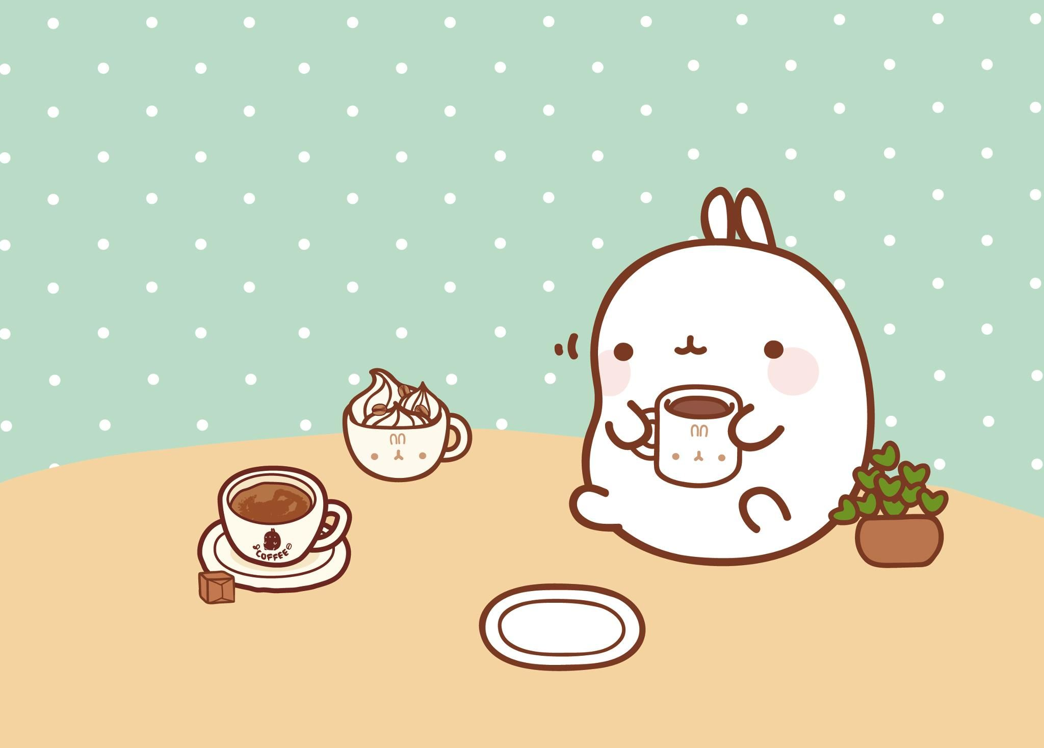 Molang's coffee break wallpaper. (click thru for high res