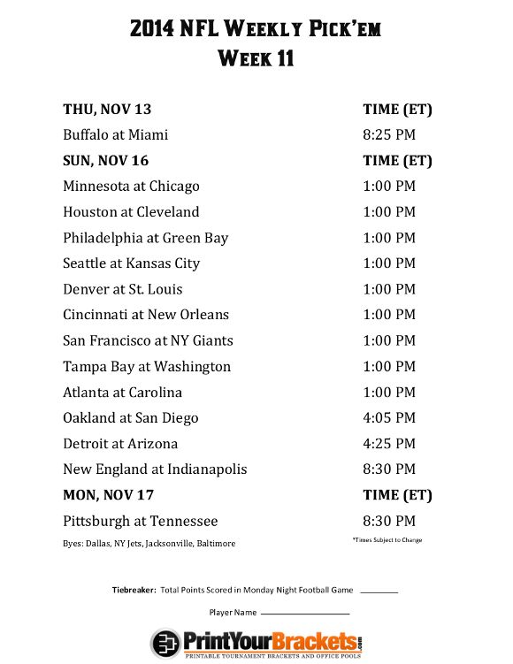 image about Nfl Week 8 Printable Schedule known as Printable NFL 7 days 11 Routine Opt for em Place of work Pool 2014