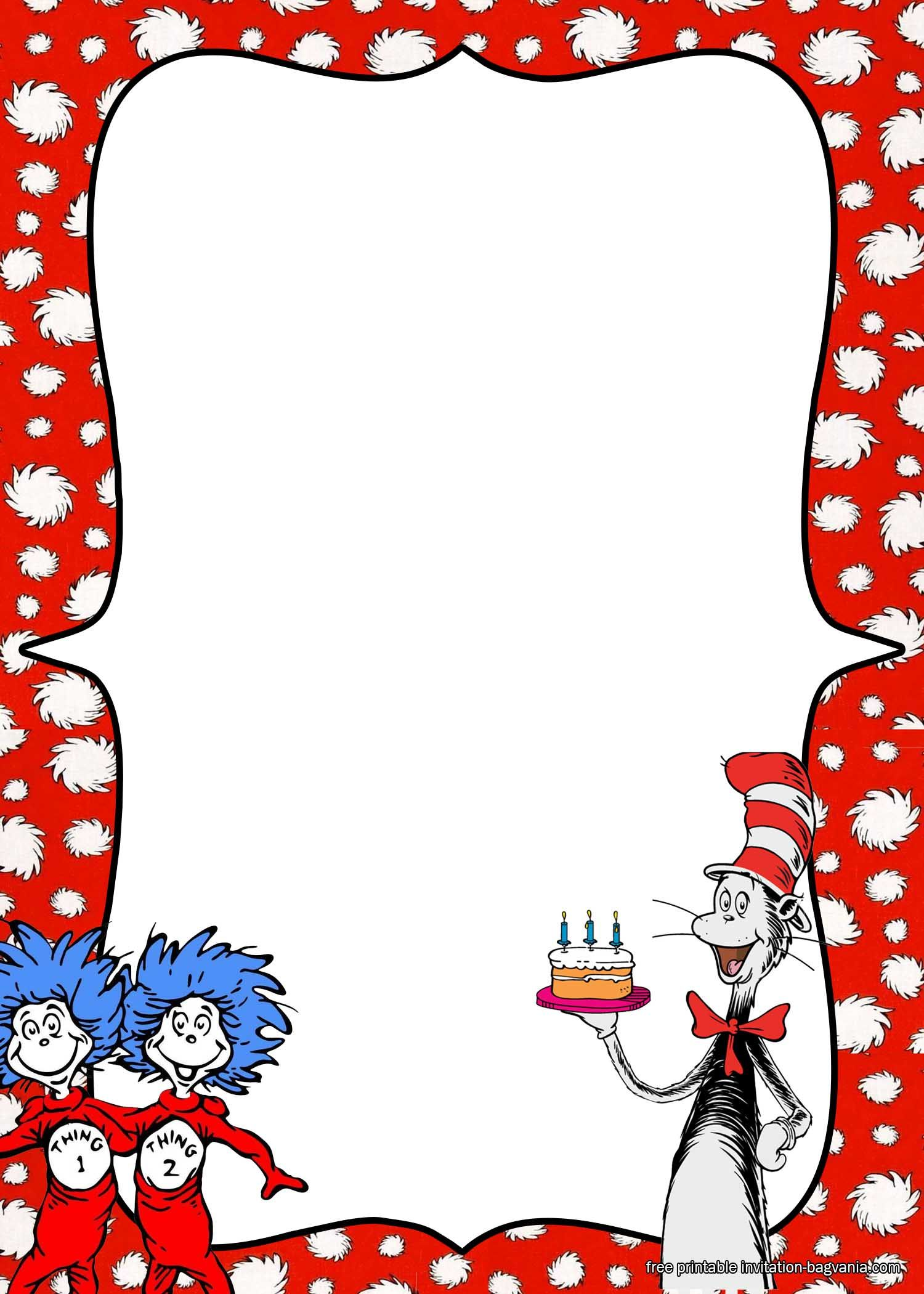 Free Printable Dr Seuss Birthday Invitation Templates Dr Seuss Invitations Dr Seuss Birthday Dr Seuss Crafts