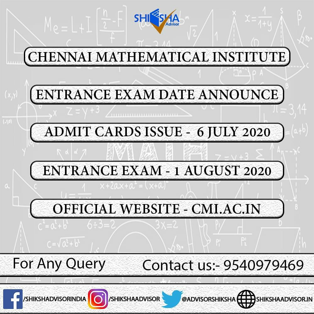 Cmi Entrance Exam Important Dates Chennai Mathematical Institute Entrance Exam Exam Master Of Science