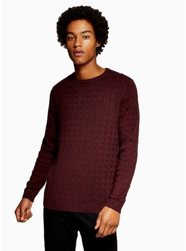 37e060edda6f ONLY & SONS Burgundy 'Alex' Cable Jumper in 2019 | Products | Men ...