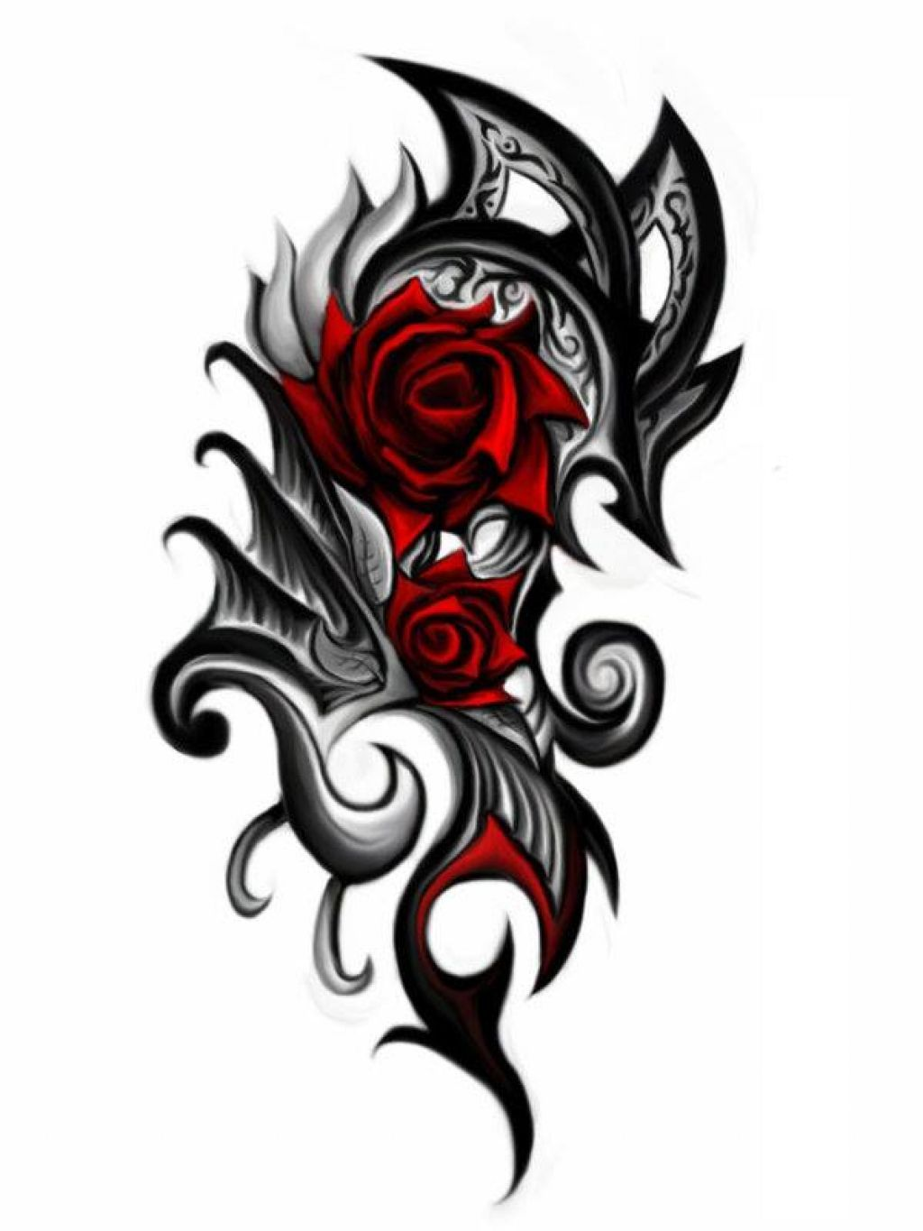 Tribal Rose Tattoo Designs For Men Intricate Modern Day Tattoo
