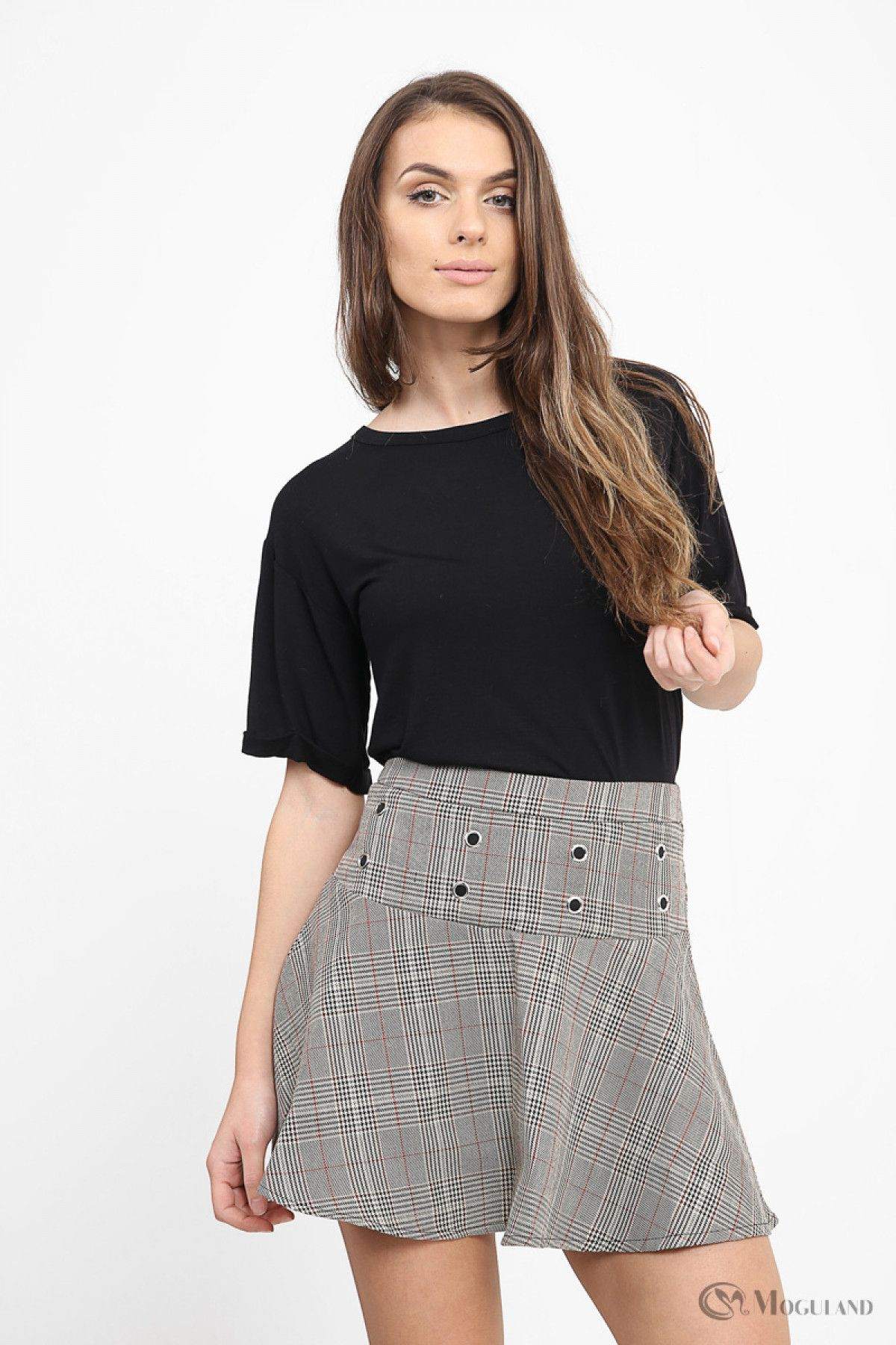 Fashion Supplier Apparel Sarong Announces The New: Grey Check Lace Up Skater Skirt Front (With Images
