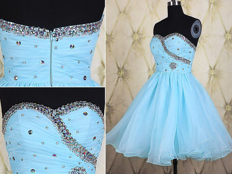 Shining beaded blue organza short homecoming dresses,2015 short prom dress,junior bridesmaid dress,cute sweetheart sweet 16 dresses DP206 by DressPerfect on Etsy https://www.etsy.com/listing/248427605/shining-beaded-blue-organza-short