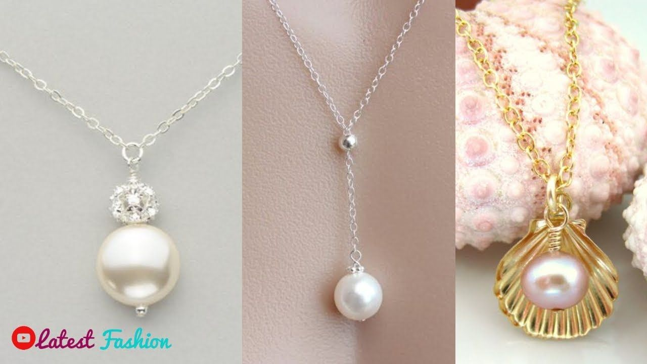 9b08bdeb6bab8 Pearl Necklace Designs || Daily Wear Simple Pearl Pendant With Chain ...
