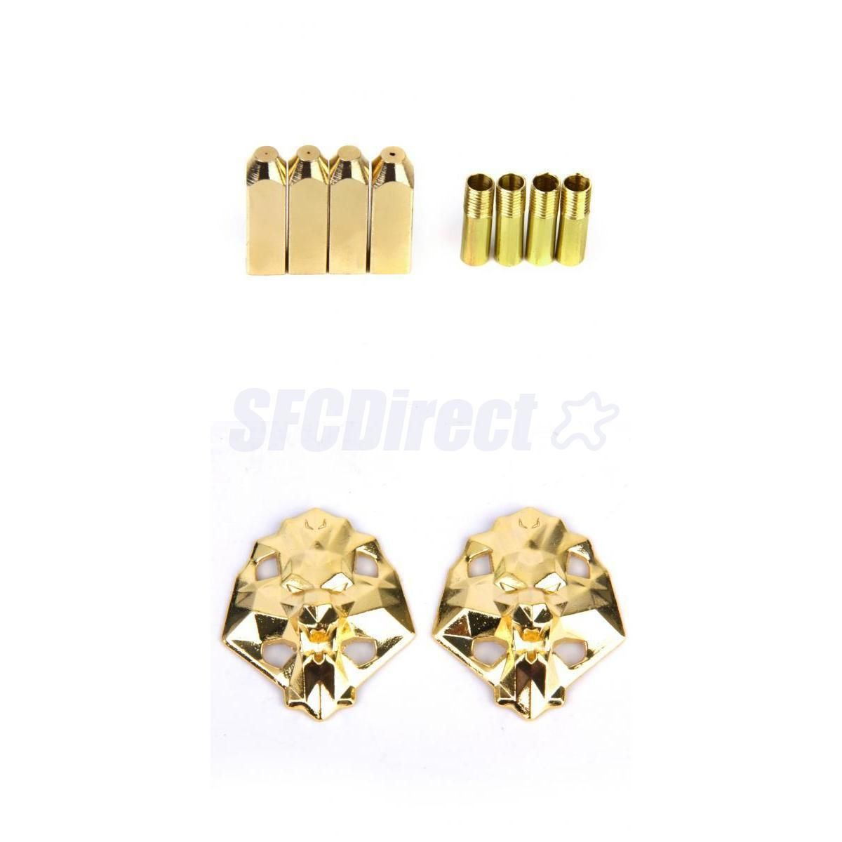 GOLD METAL LION HEAD LACE LOCK /& 2PRS SCREW ON AGLET TIPS FOR  LEBRON SHOES