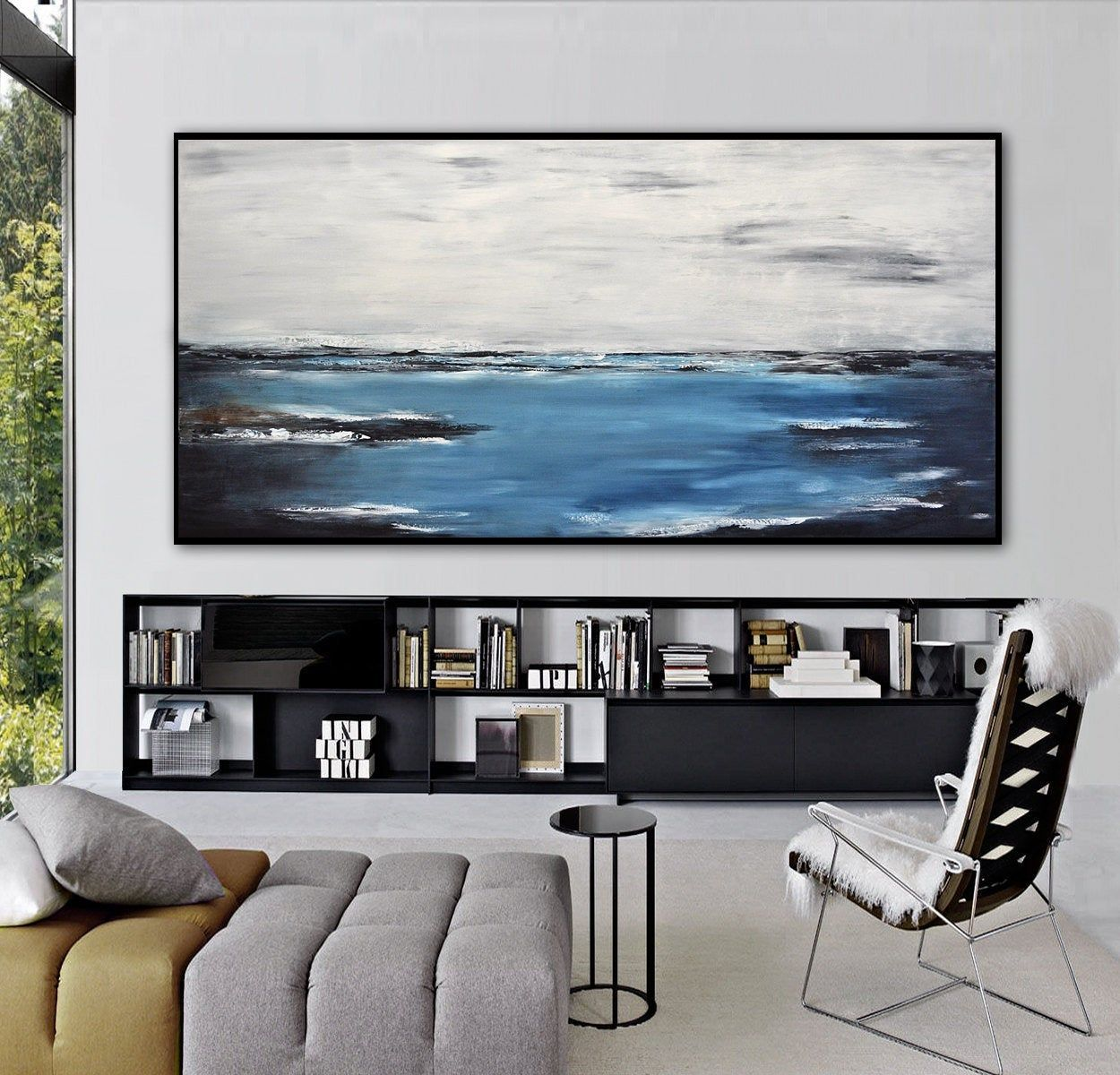 Abstract 36x72 Wall Art Original Seascape Oil Painting Extra Etsy Ocean Landscape Painting Landscape Paintings Abstract Ocean Painting