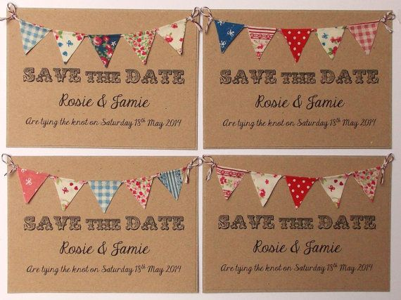 Rustic Wedding Invitation. Unique Rustic Kraft Card with Bunting. Summer Fete Bunting on Kraft Card with bakers twine