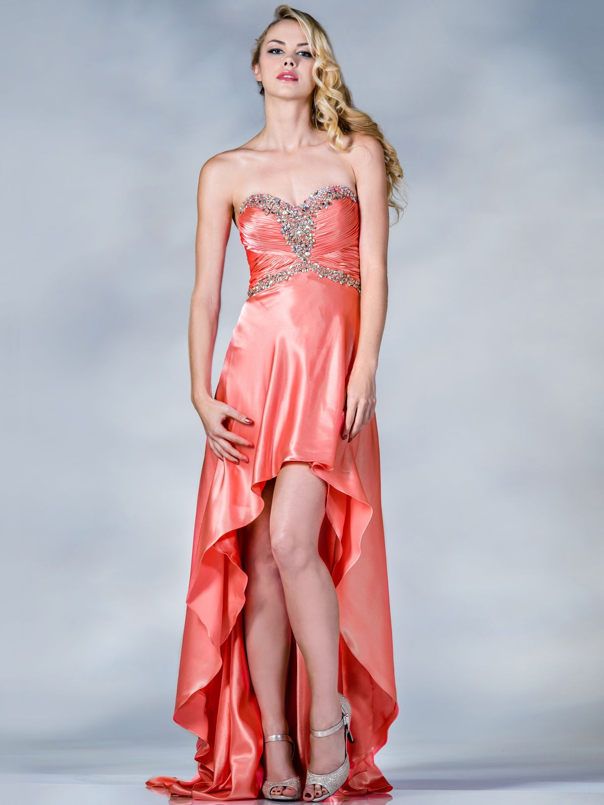 Coral Satin High Low Prom Dress. Style #: C5902. Get yours today at ...